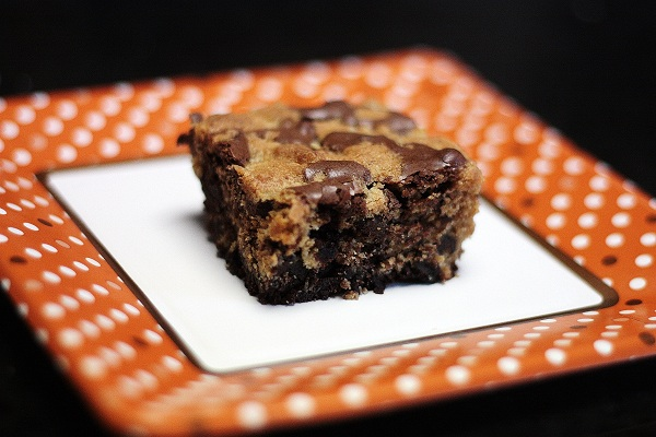 cookie dough topped brownies