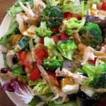 """""""Homemade"""" peanut sesame dressing tastes good on pretty much anything, even randomly heaped vegetables from the dining hall salad bar."""