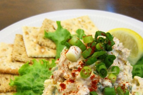 The funnest part about making your own tuna dip is getting to scrounge around the cafeteria for flavorful ingredients.