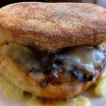 A minute or so in the microwave turns an ordinary English muffin sandwich into a cheesy Muenster Muffin Melt.