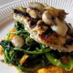 grilled chicken with mashed sweet potato broccoli rabe apple butter mushrooms