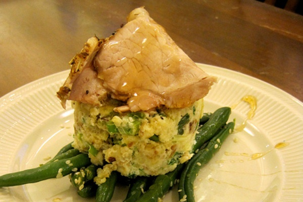 Lucky Irish mashed potatoes with pork and green beans